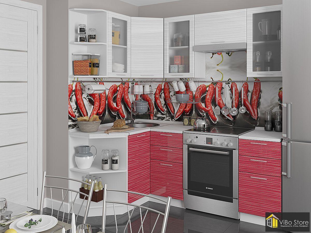 Современная светлая кухня белый глянец страйп 2140*1290
