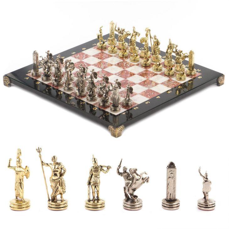 Шахматы Греческая мифология, доска мрамор, креноид змеевик 36 х 36 см