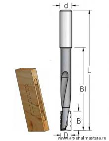 Фреза для выборки глубоких пазов под дверные и мебельные замки 14x25x81x130x12 WPW DT14002M