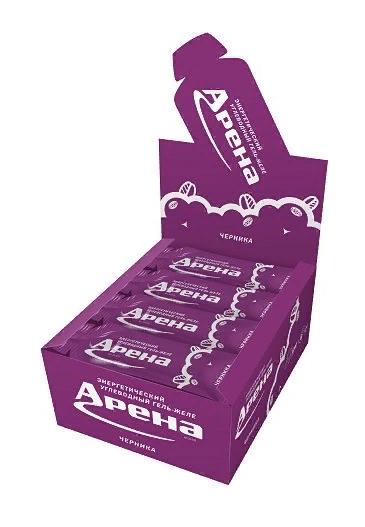 Углеводный гель Арена Первая со вкусом черники, бокс 24 шт.