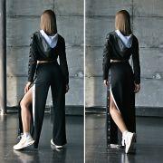 черные штаны с разрезами