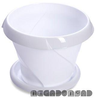 """Кашпо """"Флориана"""" с поддонником 2,8л Д215 белое С386БEЛ"""