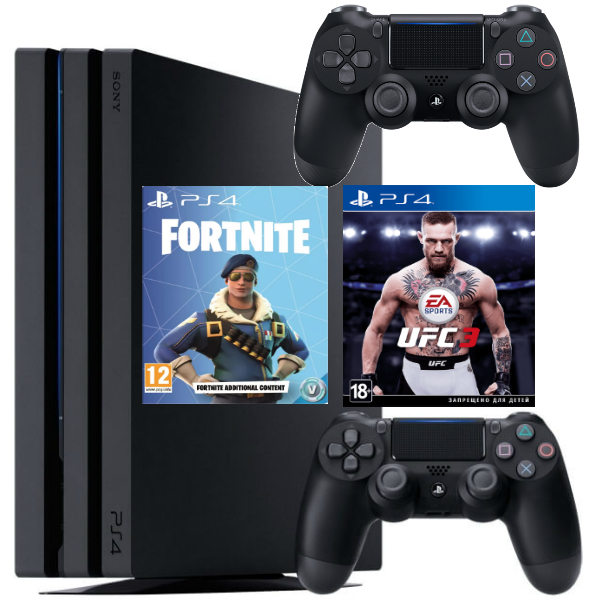 Игровая консоль  Sony Playstation 4 Pro 1TB (CUH-7108B) + UFC3 + Fortnite + Геймпад