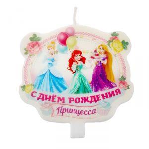 """Свеча в торт Дисней """"С днем рождения, принцесса"""" Принцессы"""