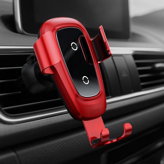 Автодержатель с беспроводной зарядкой Baseus Metal Wireless Charger Gravity Car Mount Красный (WXYL-B09)