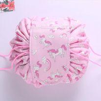 Ленивая нейлоновая косметичка-мешок с рисунком на липучке, розовый с пони