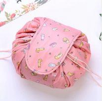 Ленивая нейлоновая косметичка-мешок с рисунком на липучке, персиковый с котятами