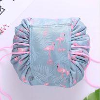 Ленивая нейлоновая косметичка-мешок с рисунком на липучке, серый с фламинго
