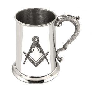 Английский Танкард (объём. 1 пинта)  с эмблемой тайного общества масонов. 1PT MASONIC TANKARD