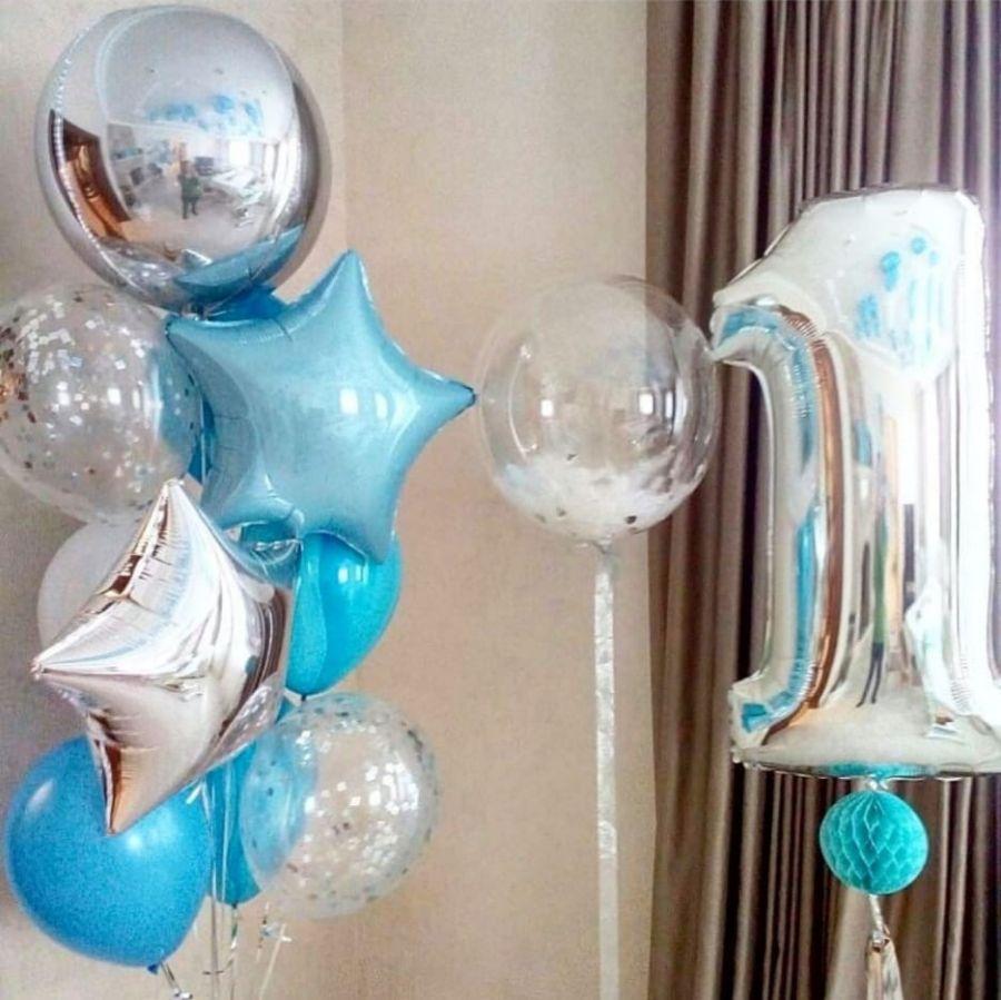 Фонтан из шаров с шаром сфера, серебро хром
