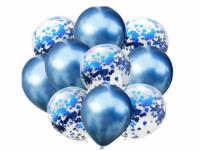 Цветные латексные шары, воздушные шары с конфетти синий хром