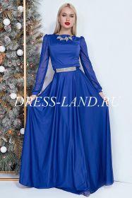 Синее вечернее платье в пол с длинными рукавами