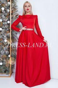Красное вечернее платье в пол с длинными рукавами