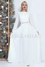 Белое вечернее платье в пол с длинными рукавами