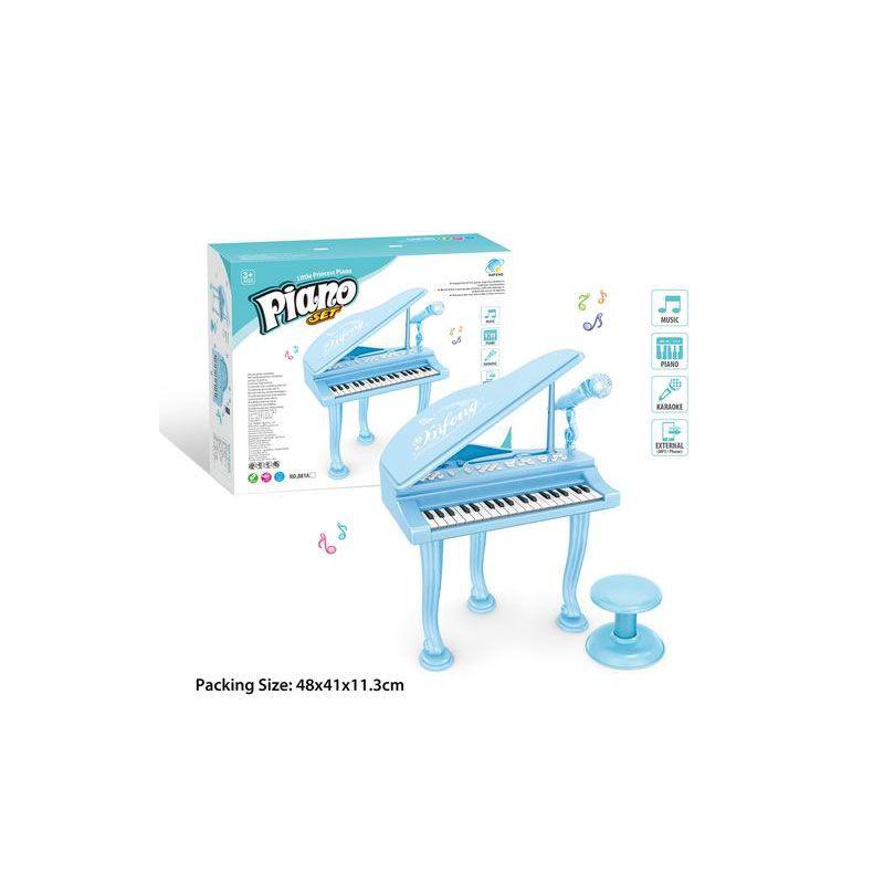 881A  Детское пианино рояль со стулом и микрофоном на батарейках