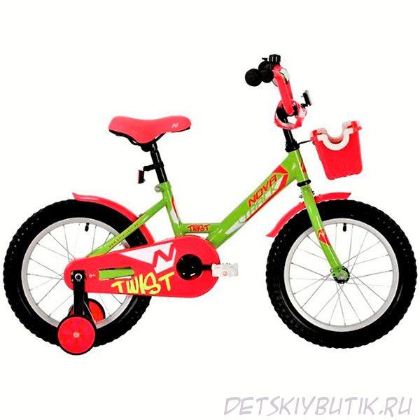 """Велосипед детский Novatrack Twist 18"""" (2020) с корзиной, зелено-розовый"""