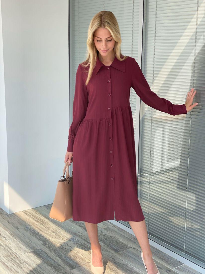 s2200 Платье-рубашка брусничное свободное с асимметричной линией талии