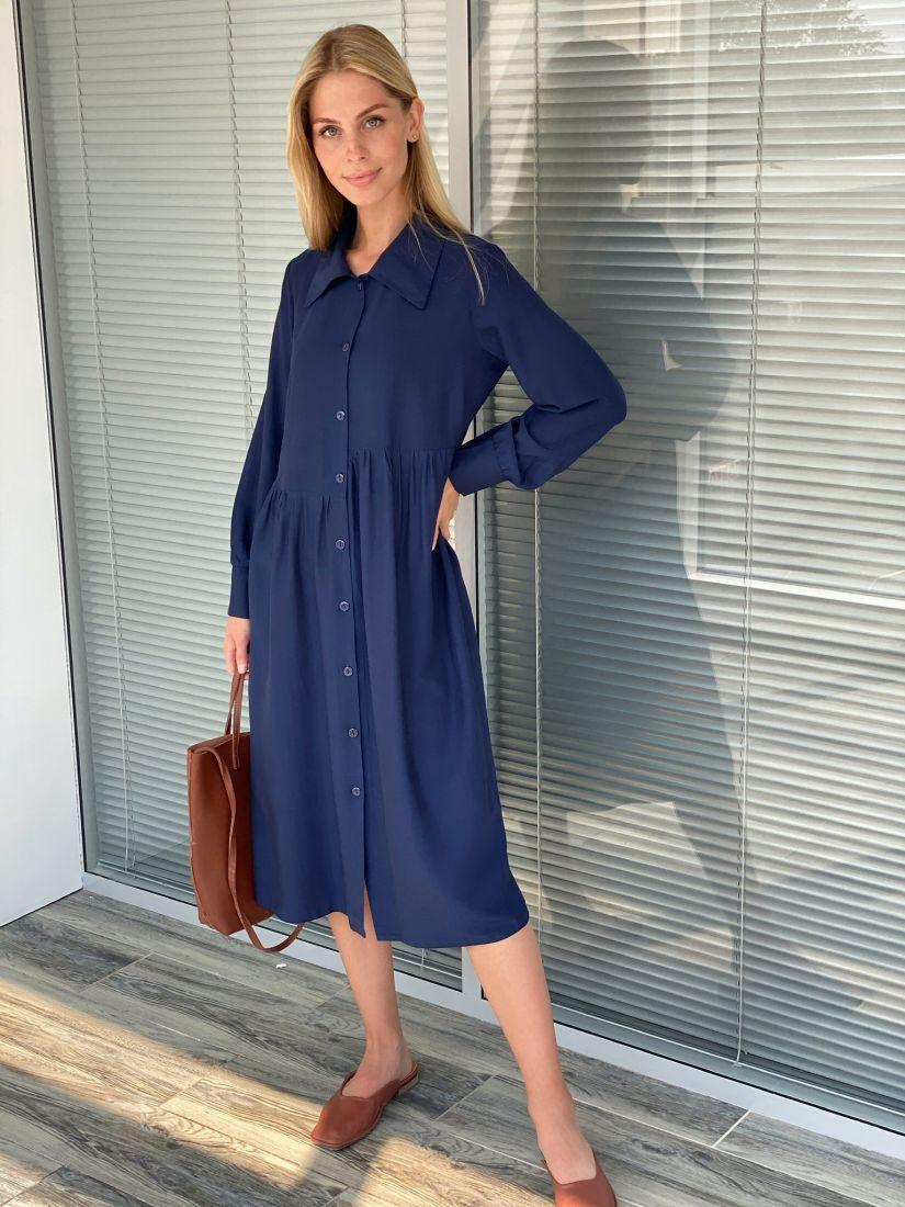 s2204 Платье-рубашка свободное тёмно-синее с асимметричной линией талии