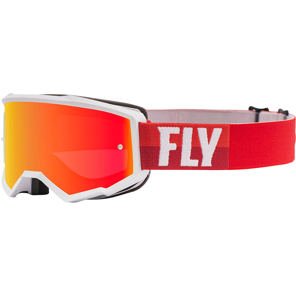 Fly Racing Zone White/Red Red Mirror/Brown Lens очки для мотокросса