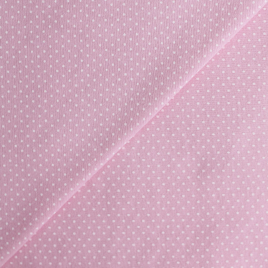 Лоскут трикотажной ткани Горошек на розовом 50х30