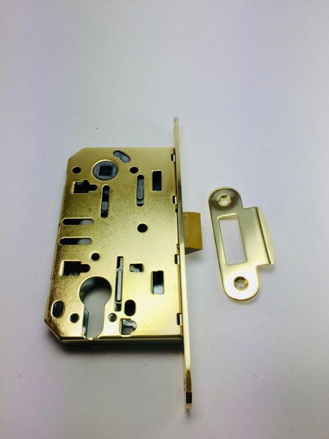 Корпус врезного замка с защелкой, Оберег, золото, 85 мм