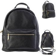 Рюкзак-мини ACTION, молодежный, разм. 28х22х12 см, черный, цвет фурнитуры-золотистый, иск. Кожа