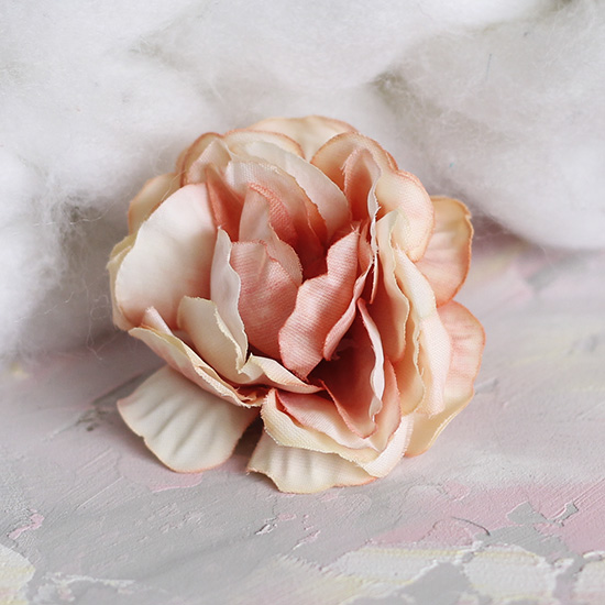 Цветок тканевый Роза персиковая 5 см