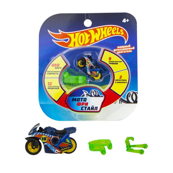 Hot Wheels Мотофристайл, синий №18 (в компл.: инерц. мотобайк, 2 аксессуара для трюков, блистер)