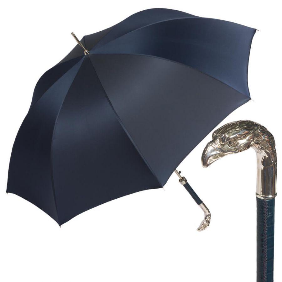 Зонт-трость Pasotti Eagle Pelle Oxford Blu