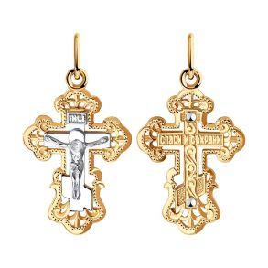 Крест из комбинированного золота 120092 SOKOLOV