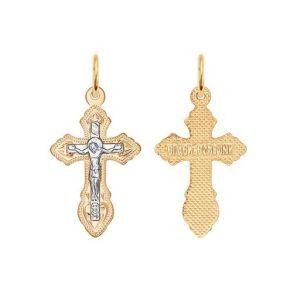 Крест из комбинированного золота с гравировкой 121142 SOKOLOV