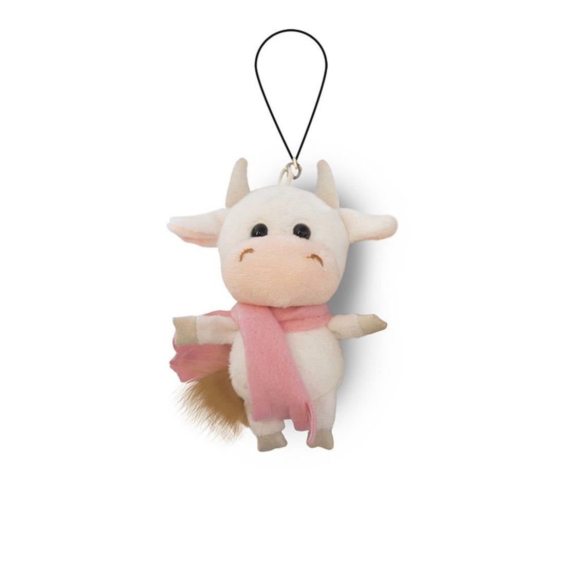 Мягкая Игрушка , Коровка Белая в Розовом Шарфике, 11см