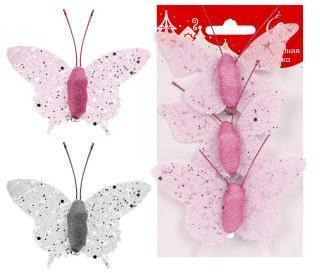 Ел. Укр. Бабочки 8 см., 3 шт, в ассорт.