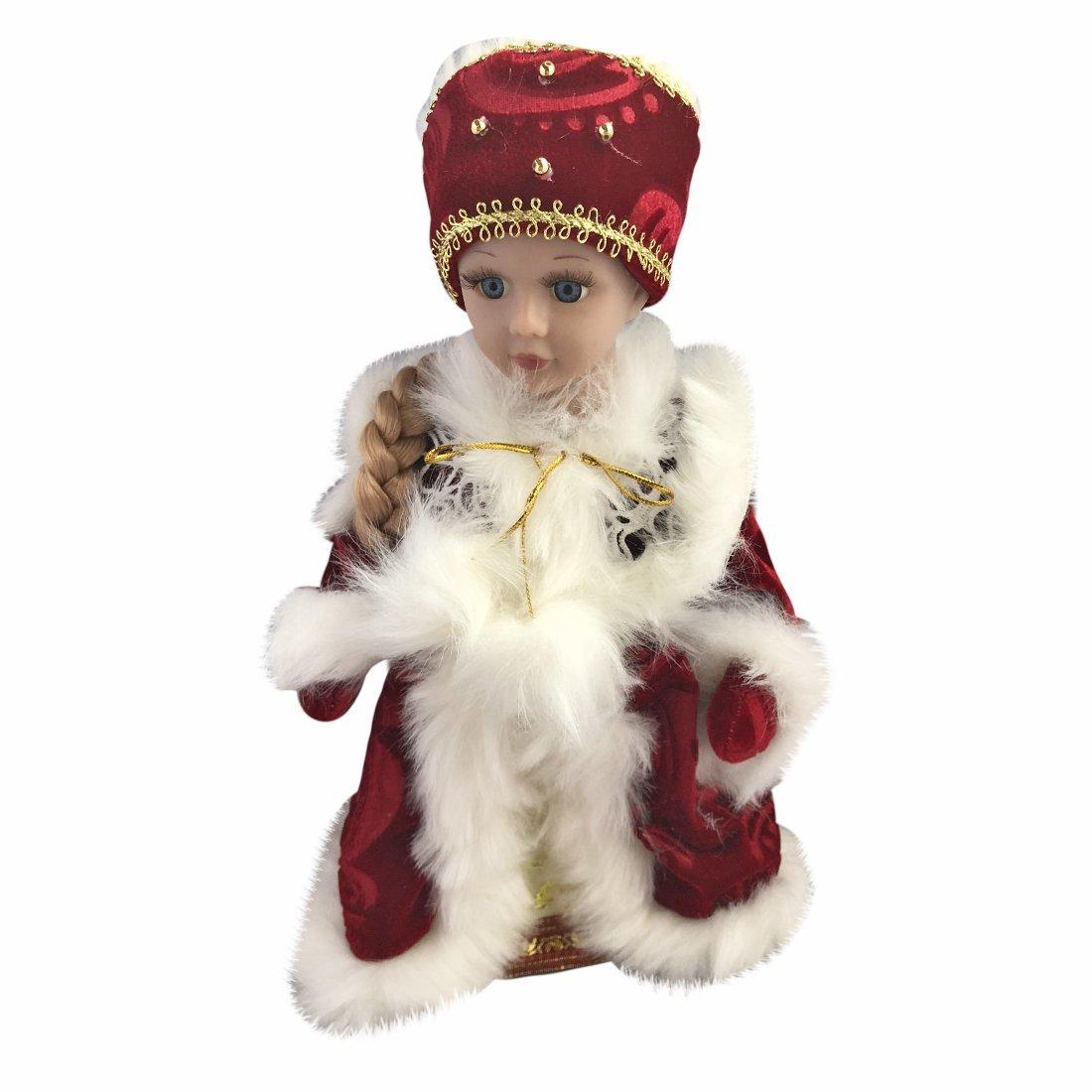 """ДЕФЕКТ УПАКОВКИ   Снегурочка в красном. 30 см, мех., муз., песня """"маленькой елочке"""", элементы питания не входят в компл"""