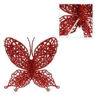 Украшение на елку  Бабочка 11*10 см, красная.