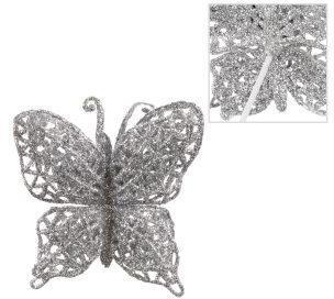 Украшение на елку  Бабочка 6*8 см, серебро.