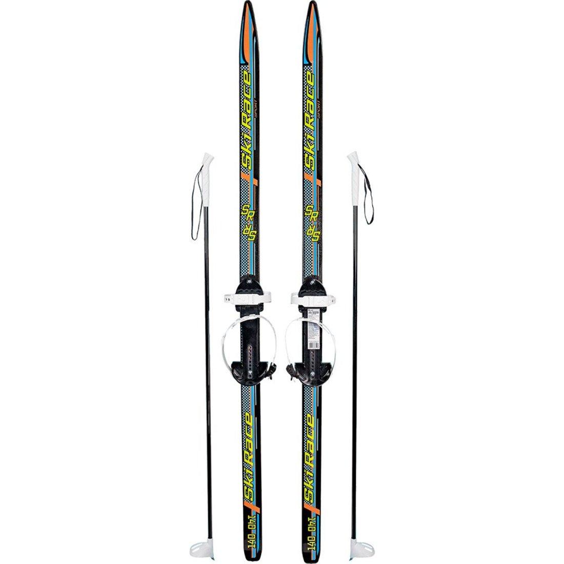 Лыжи подростковые Ski Race с палками стеклопластик, унив.крепление, (140/105)