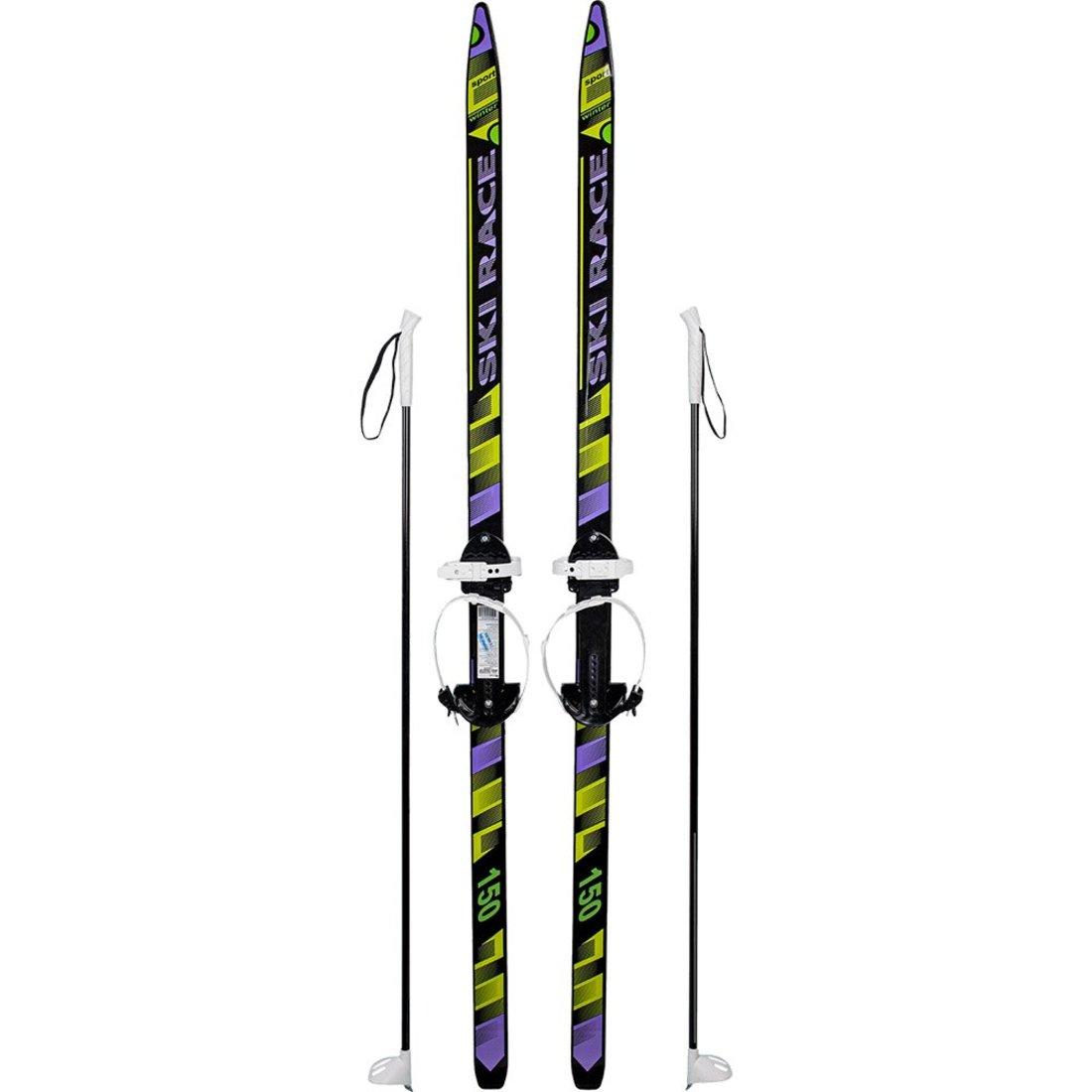 Лыжи подростковые Ski Race с палками стеклопластик, унив.крепление, (150/110)