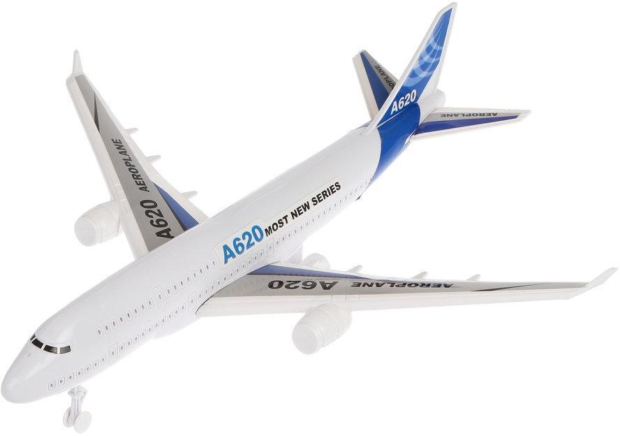 Самолёт инерционный, свет, тестовые эл.пит.AG3*3шт.вх.в комплект, пакет