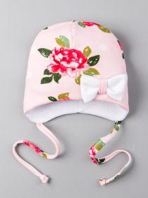 РБ Шапка трикотажная для девочки на завязках, бантик, цветы, светло-розовый 00-0021190