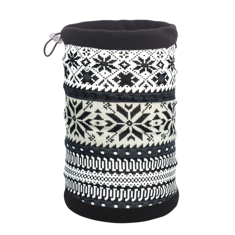 Флисовый шарф труба с серым узором