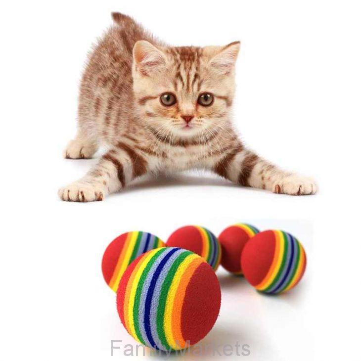 Набор игрушек для кошек Мячик Радуга, 4 шт