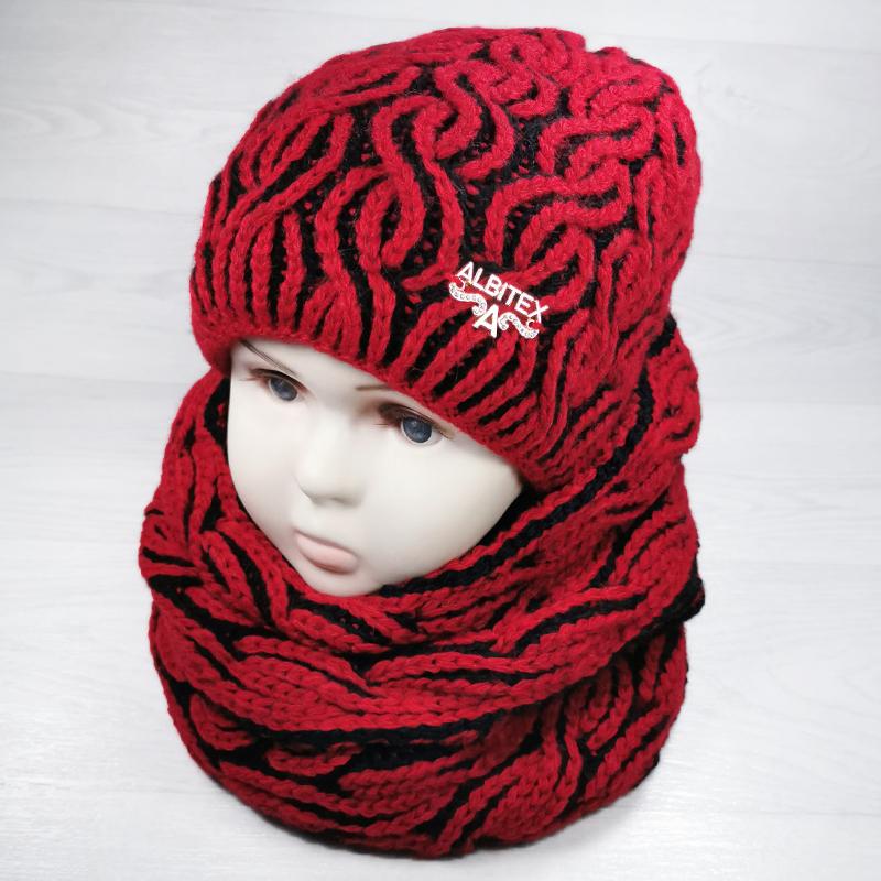 зд1194-06 Комплект вязаный шапка/снуд Косы бордо