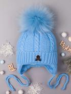 РБ Шапка вязаная для мальчика на завязках с помпоном, на отвороте нашивка мишка, голубой 00-0013998