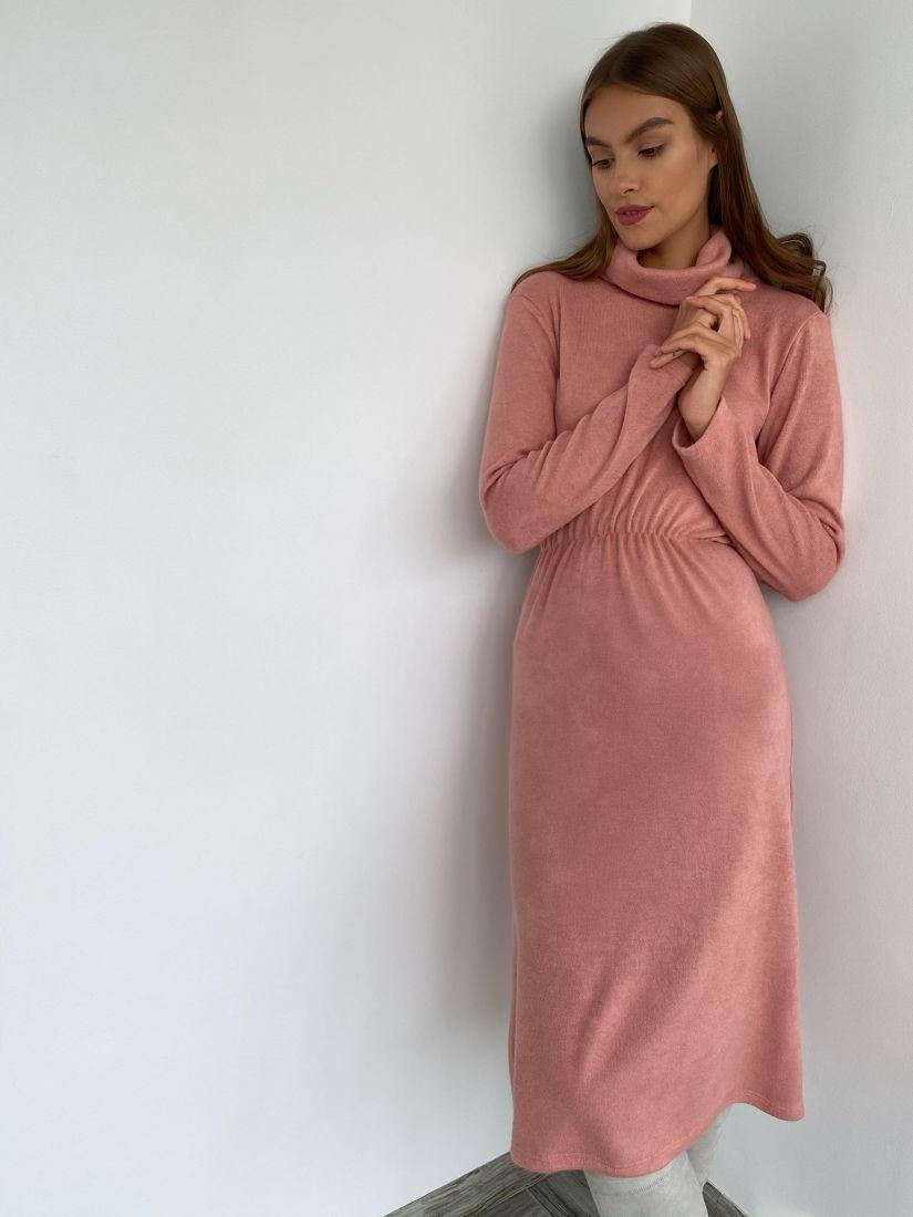 s2264 Платье из ангоры в тёплом персиковом оттенке