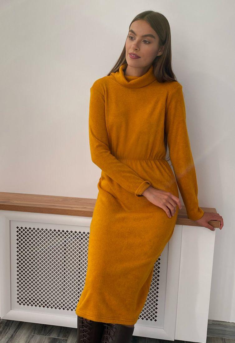s2265 Платье из ангоры в горчичном цвете