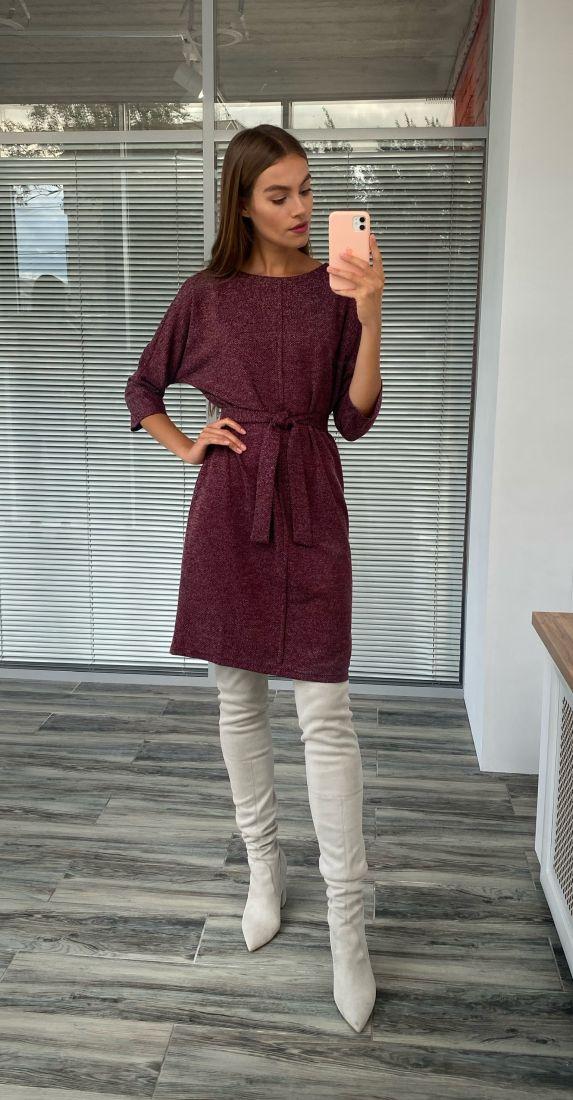 s2274 Платье из трикотажа с планкой бордовое