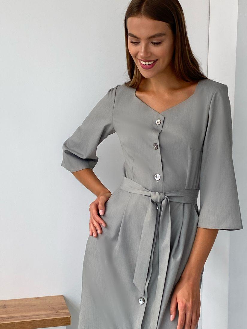 s2277 Платье с фигурным вырезом из светло-серого костюмного хлопка