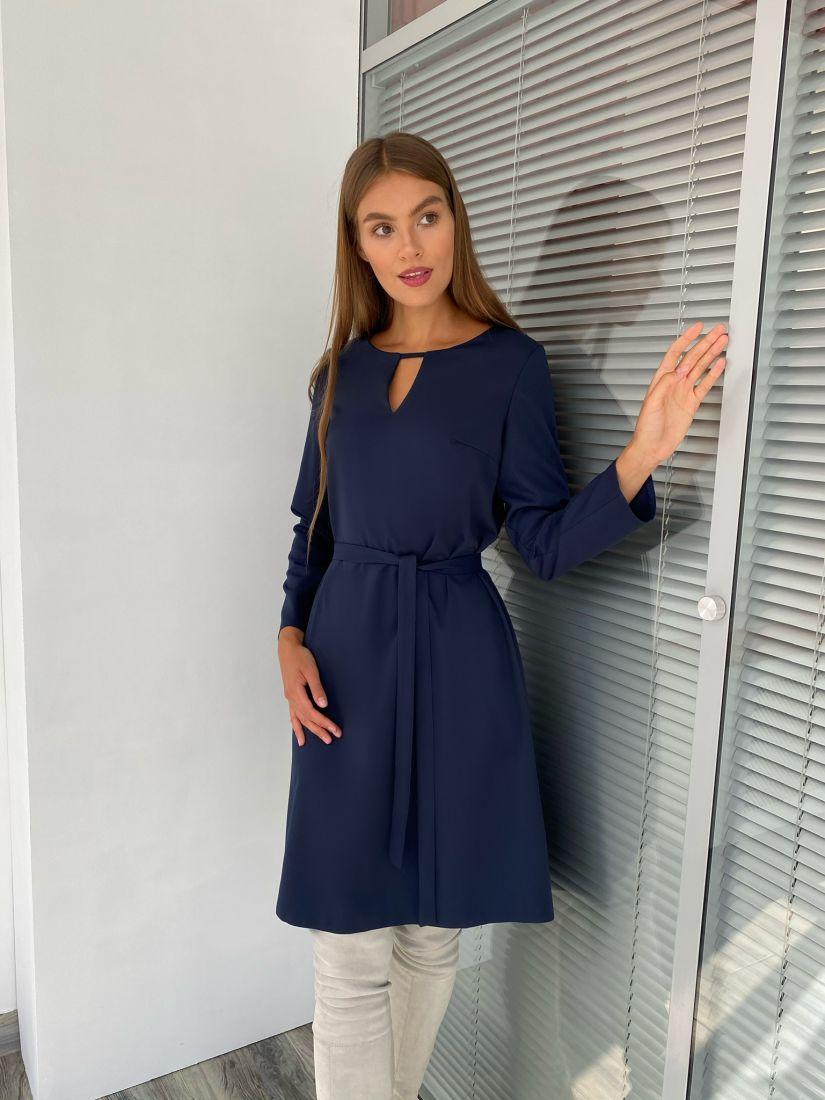 s2286 Платье с вырезом тёмно-синее