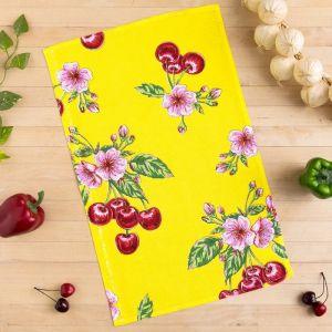Полотенце вафельное Collorista Вишни, цвет желтый 35х58,100% хл,160 г/м?